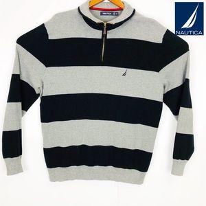 Nautica Gray and Black Long Sleeve Zip up Sweater